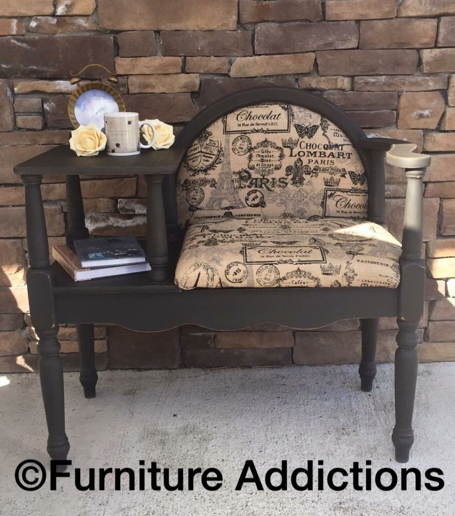 Gossip Bench Redone With Chalk Paint And Paris Themed Burlap Furniture Makeover Redo Furniture Shabby Chic Furniture