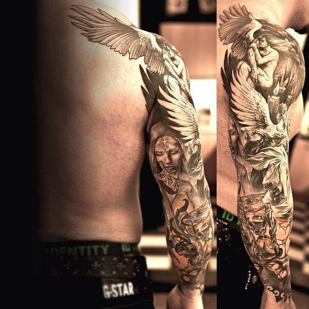 Tatuajes De Angeles Y Disenos De Regalo Tatuajes De Angel Para Hombres Brazos Tatuados Tatuajes Molones