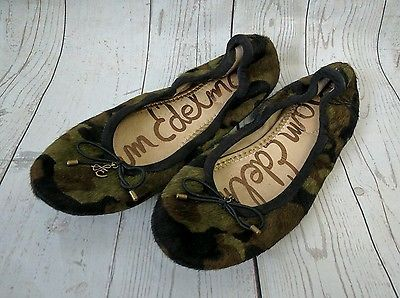 b0413036e790 Sam Edelman Felicia Flats 5M Calf Hair Camo Shoes Ladies Slip On Ballet  Flats