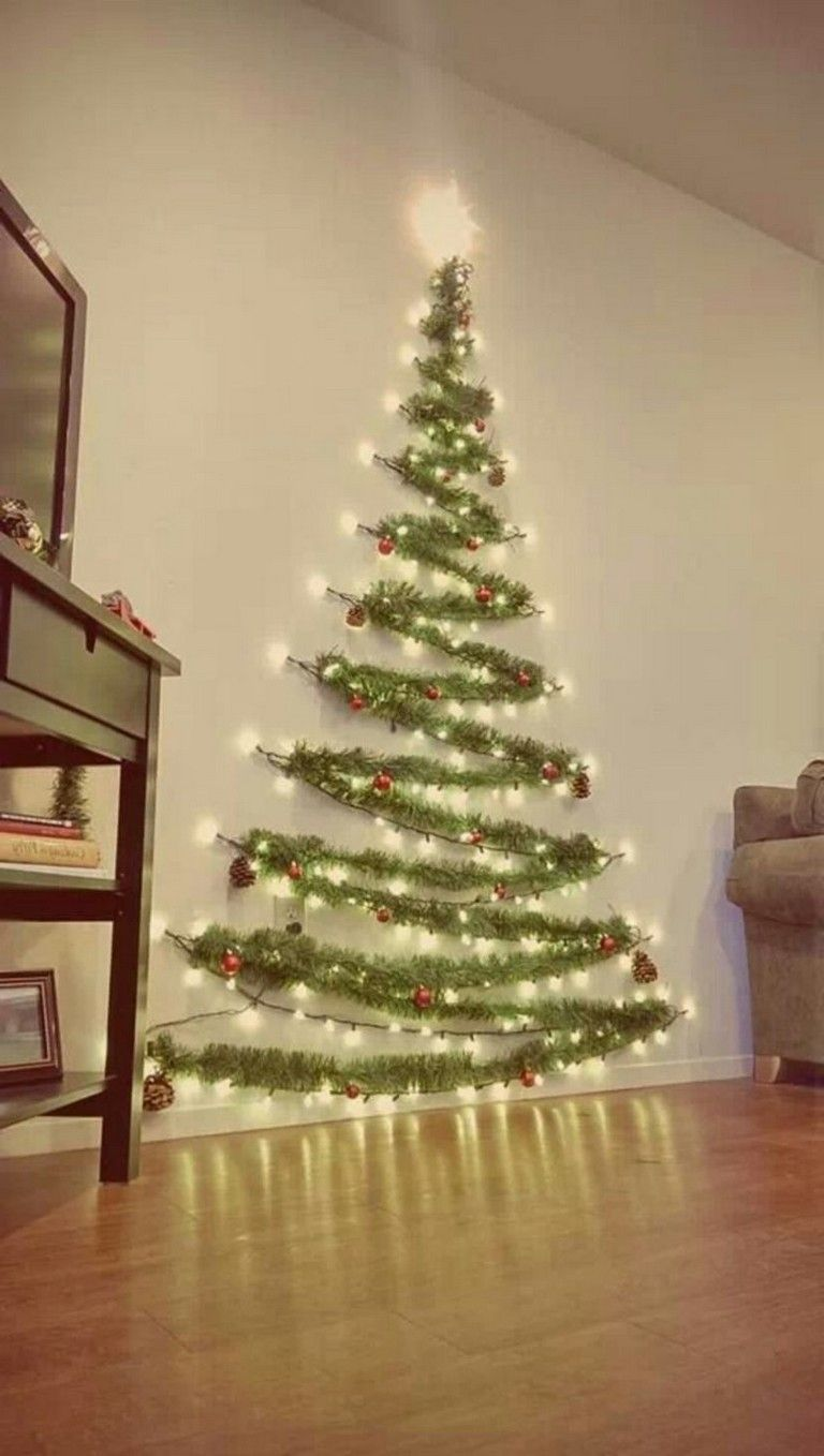 30 Diy Wall Christmas Tree To Except Your Space Diychristmasdecorations Diychri Wall Christmas Tree Christmas Decorations Apartment Creative Christmas Trees
