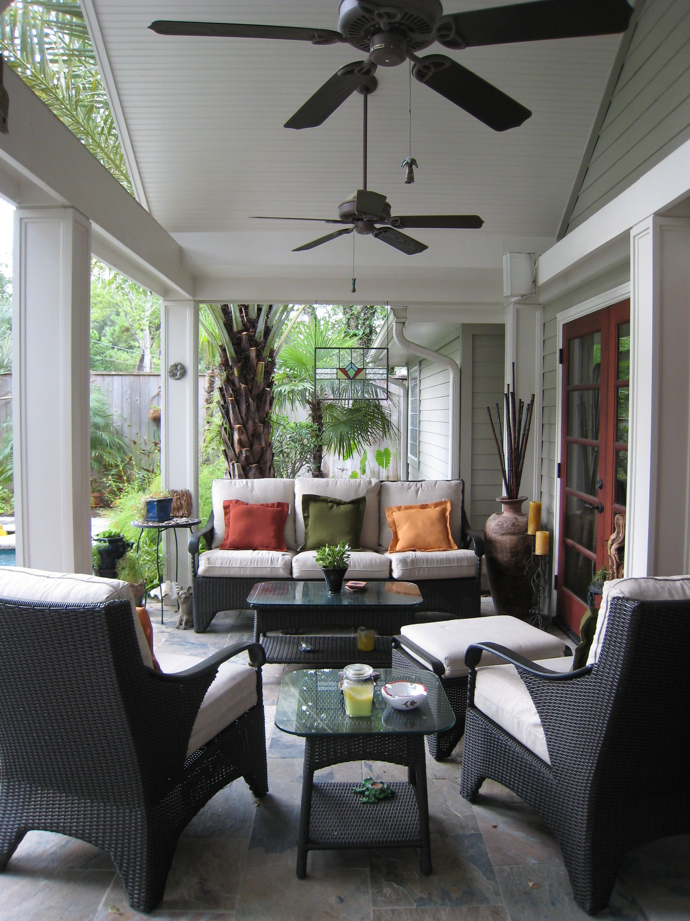Covered Patio Seating Change Light Fixture To Ceiling