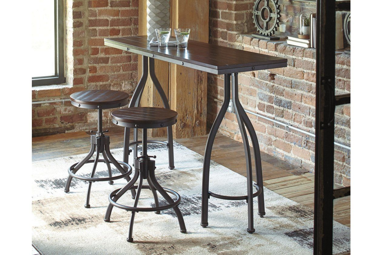 Odium Counter Height Dining Table And Bar Stools Set Of 3 Ashley Furniture Homestore Counter Height Dining Room Tables Counter Height Dining Table Dining Room Decor