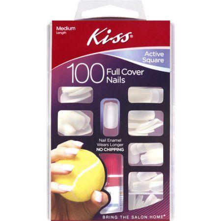 Kiss 100 Full Cover Nails Active Square Walmart Com In 2020 Acrylic Nail Kit Natural Looking Nails Nail Kit