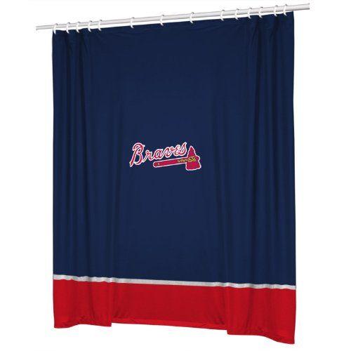 Atlanta Braves Combo Shower Curtain 4 Pc Towel Set 1 Window