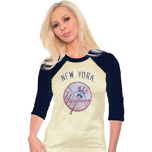 New York Yankees Women's Reverse Print Burnout Raglan T