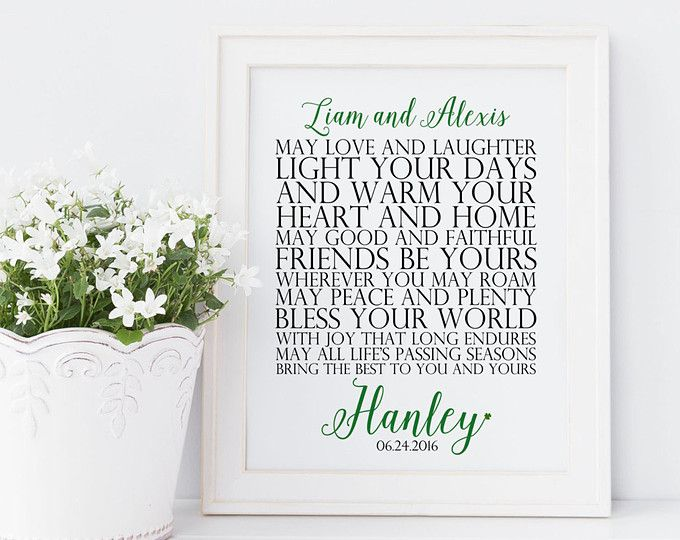 Personalized irish marriage blessing printable. irish wedding gift