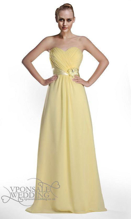 Bright Yellow Long Strapless Bridesmaid Dress DVW0050