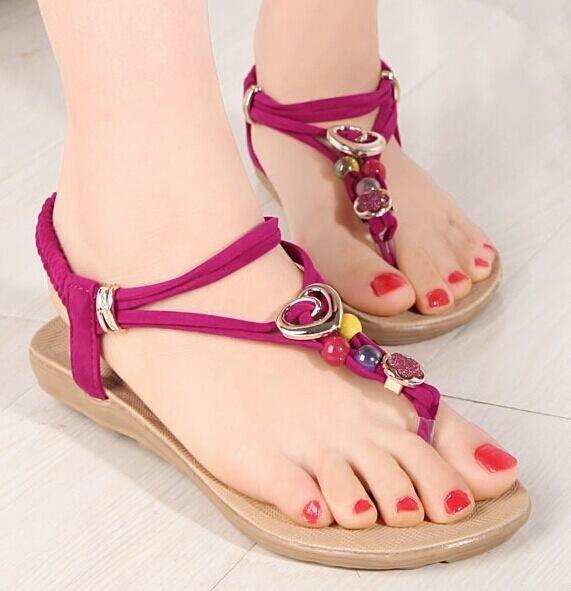 Women New Summer Bohemia Slippers Flip Flops Lady Flat Sandals Beach Thong Shoes Pink US4
