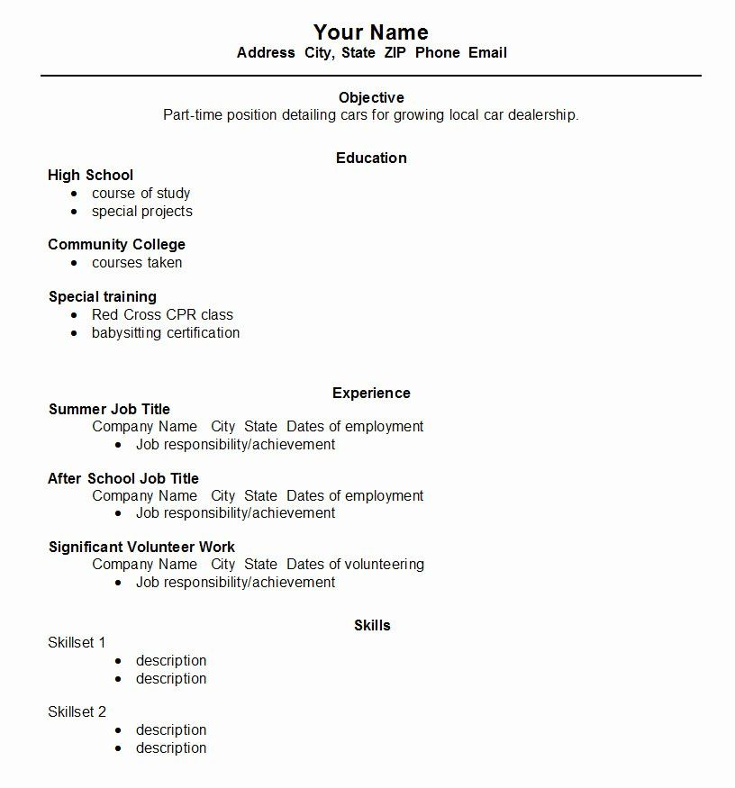 High School Job Resume Unique High School Student Resume Template Open Resume Templates Student Resume Template First Job Resume Job Resume Samples