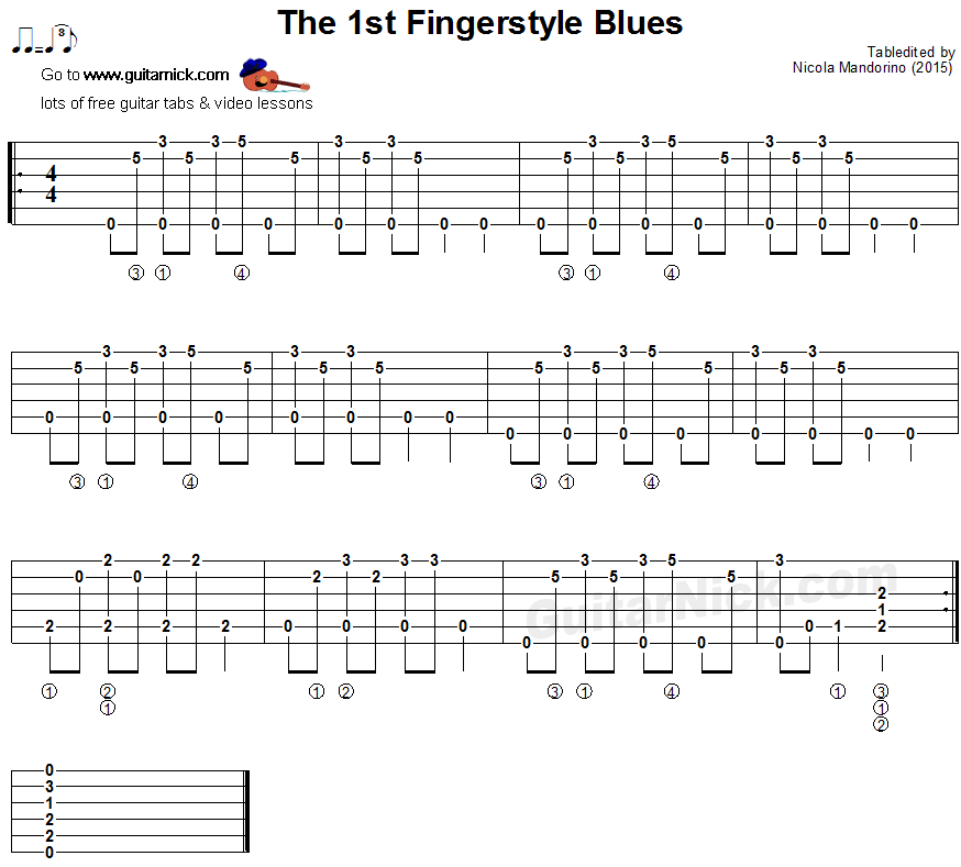 The 1st Fingerstyle Blues - guitar tablature | Guitar in