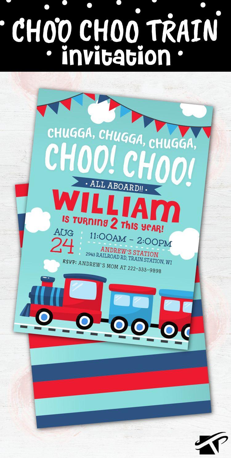 Choo Choo Train Birthday Invitation Printable DIY Digital File Party