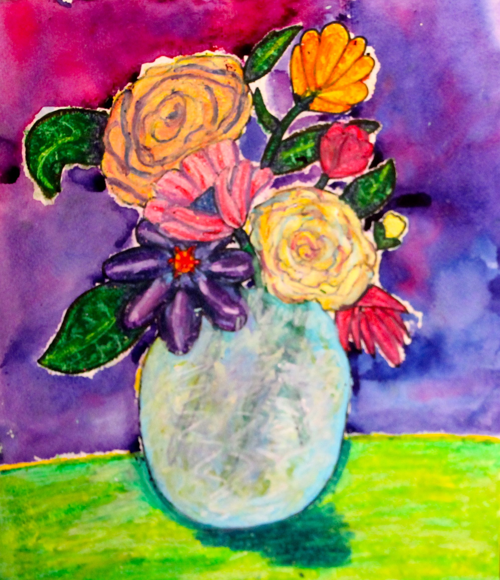 Color Van Gogh Observational Drawing Oil Pastel Still