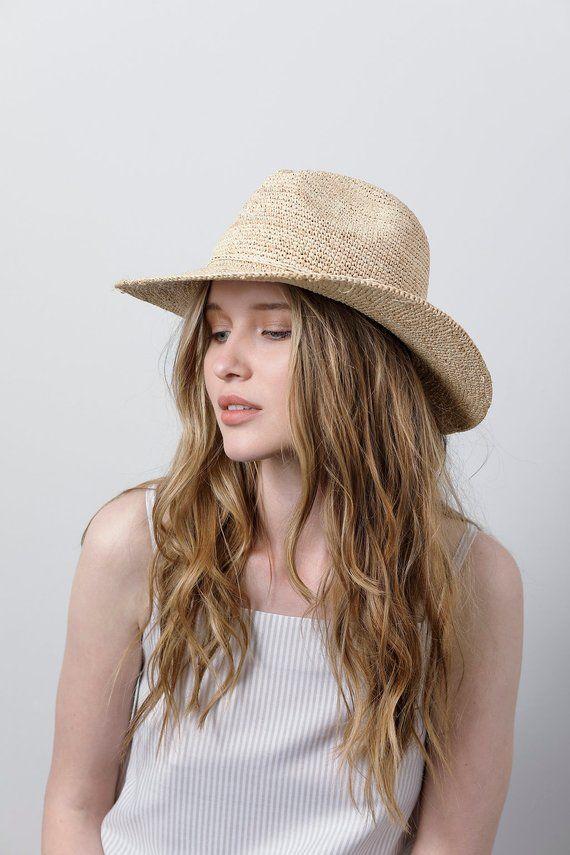 Wide brim black fedora straw hat  6bbbd568a86