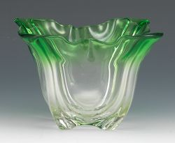 "Steuben Glass Catalog | signed Steuben"" Grotesque"" green to clear glass bowl, ground pontil ..."