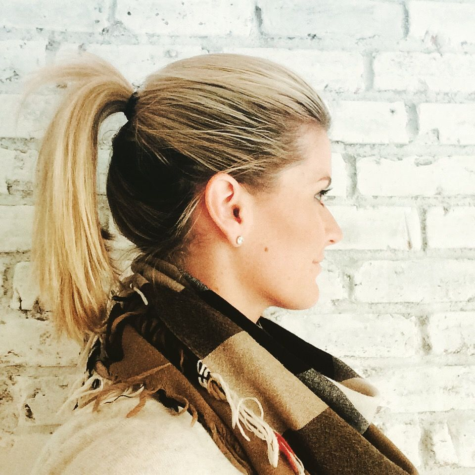 High Ponytail Ombre Look Dark Underneath Blonde On Top Dark