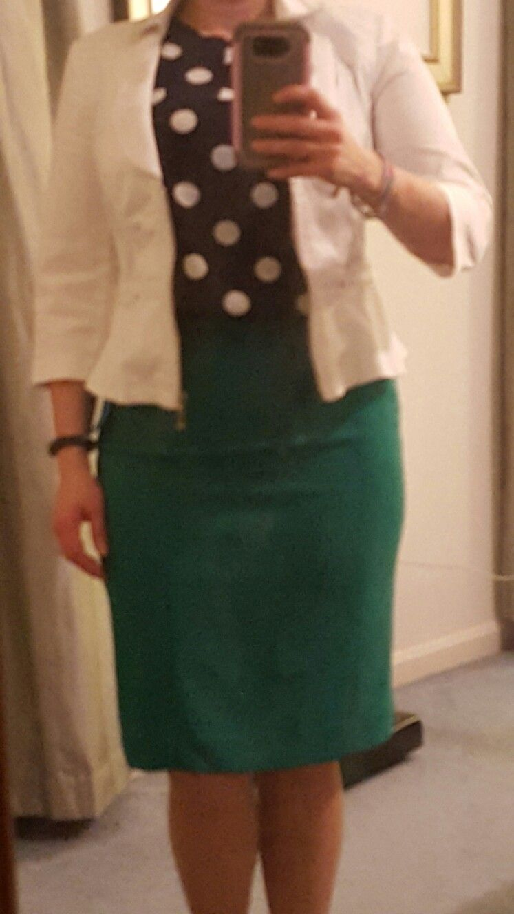 629d0d890e White jacket from White House Black Market; navy and white polka dot split  neck sleeveless blouse by Pixley via Stitch Fix; green pencil skirt from  The ...