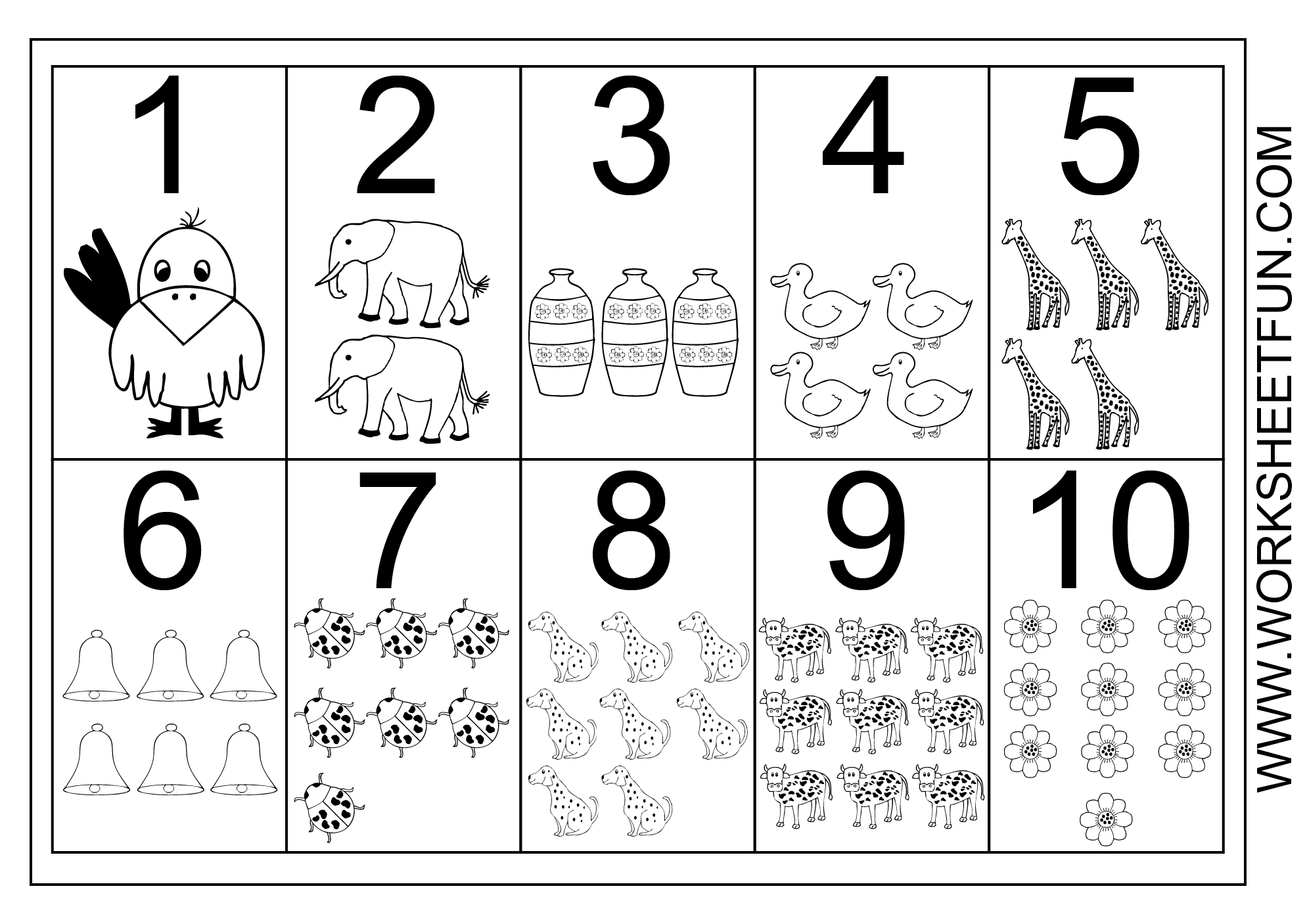 Picture Number Chart 1 10 Printable Worksheets Numbers