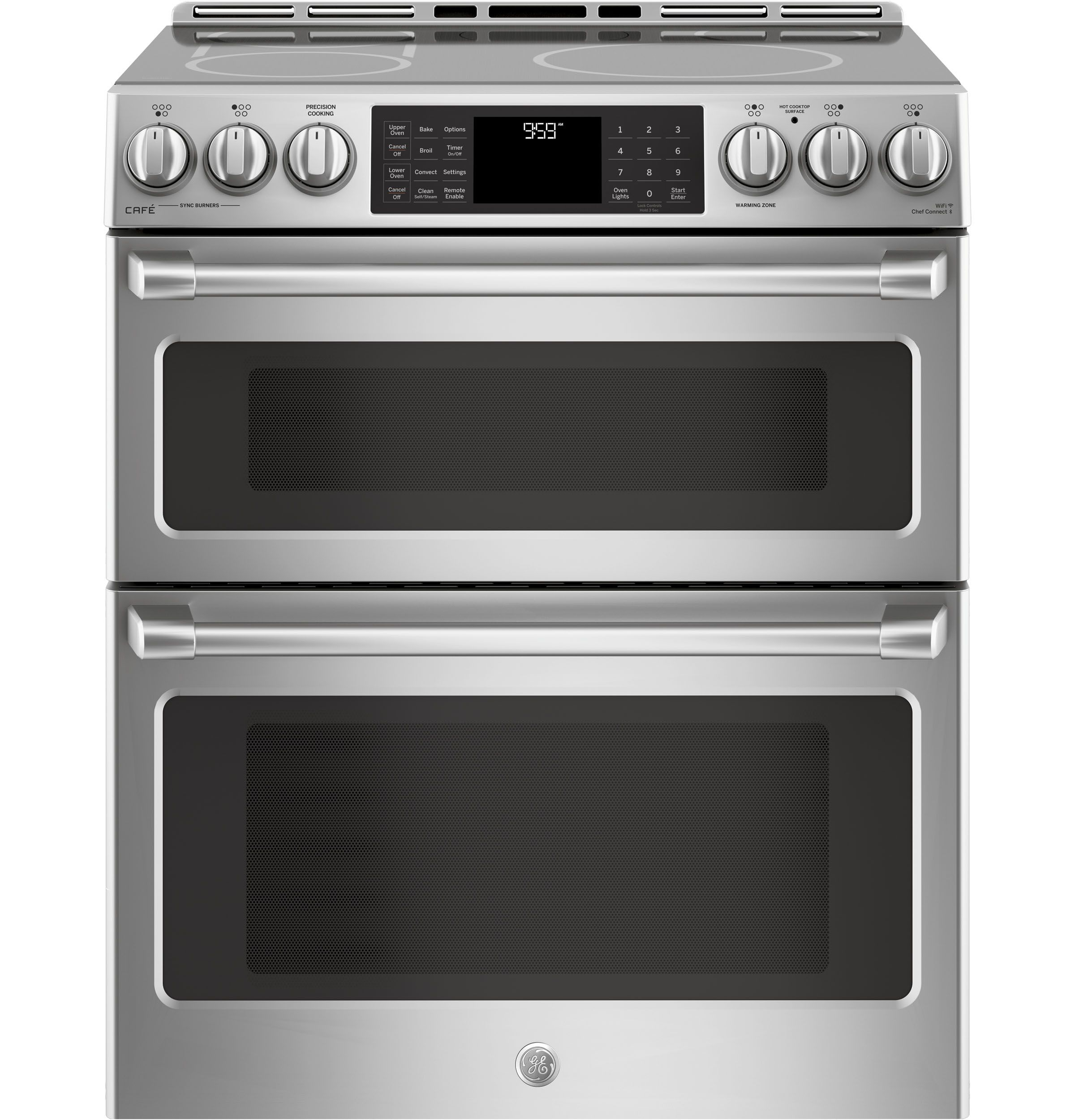 Ge Cafe Series 30 Quot Slide In Front Control Induction And Convection Double Oven Range Chs995sels Gas Range Double Oven Gas Double Oven Double Oven Range