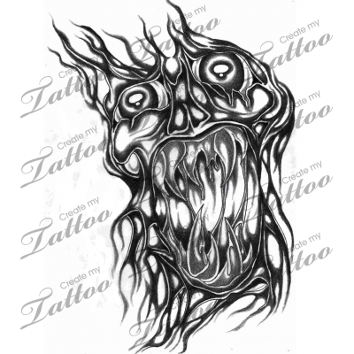 Marketplace Tattoo biomechanical skull 10108