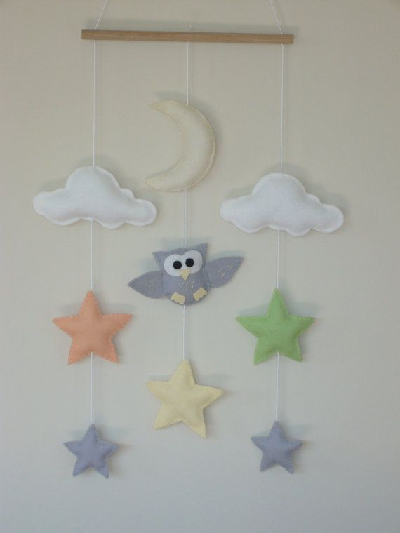 Craft Ideas For Kids Wall Hanging Part - 27: Owl Star Moon And Cloud Nursery Wall Hanging / By ClooneyCrafts