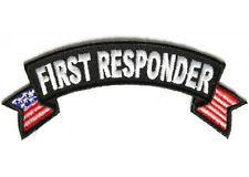 First Responder Vest | First Responder US Flags Small Rocker EMT Fire Police Vest Biker Patch ...
