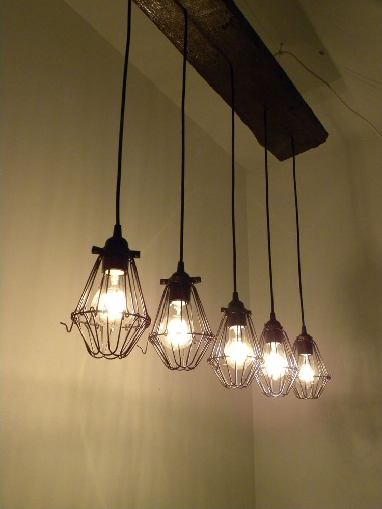 5 Bulb Reclaimed Wood Chandelier Industrial Rustic Ceiling