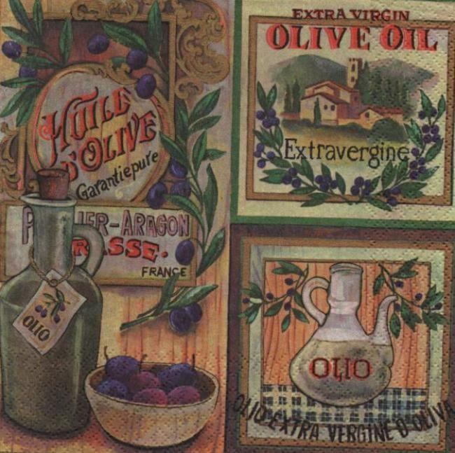 Serviette papier 33 cm x 33 cm 3 plis huile d'olive vierge pour la décoration d'objets. http://fournitures-loisirs.les-creatifs.com/serviettes.php?refer=Huile-d-olive-vierge