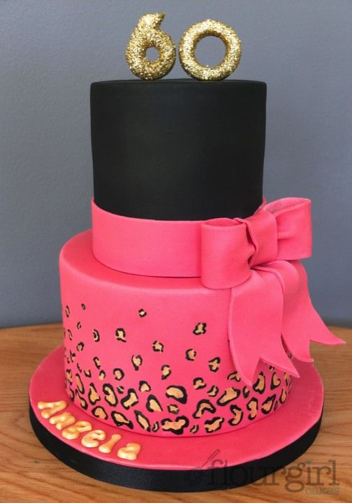 60th Birthday Cake Hot Pink Birthday Cake Leopard Print Birthday