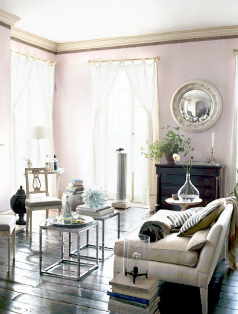 Alkemie: Pale Lavender Living Room. See how side tables are placed ...