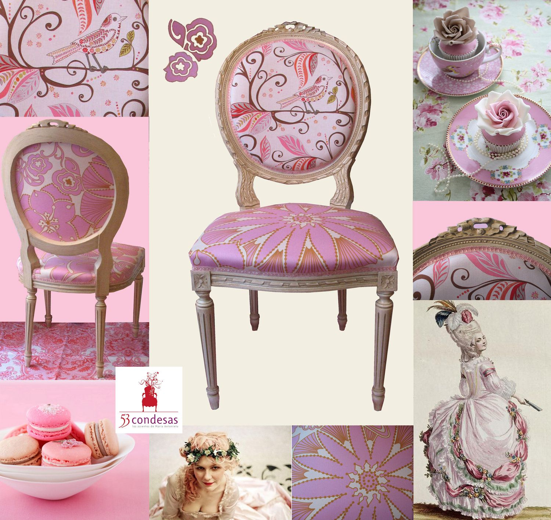 Antique louis xvi chair with anna maria horner and valori wells fabrics antigua silla luis xvi - Sillas louis xvi ...