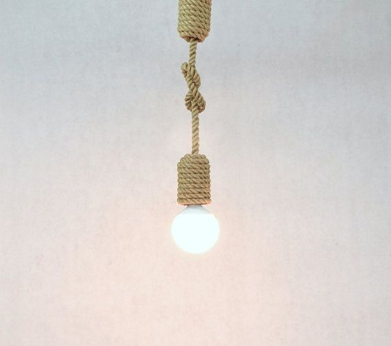 Rope Pendant Light With A Knot, Sailing Rope, Nautical