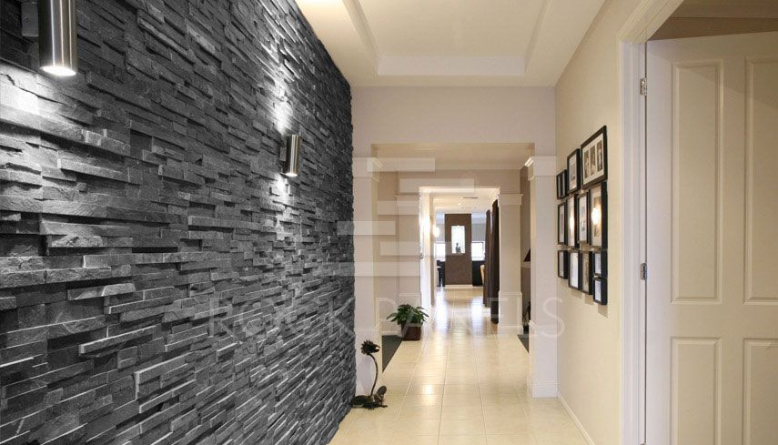 Black slate split face mosaic tiles stone cladding for Feature wall tile ideas