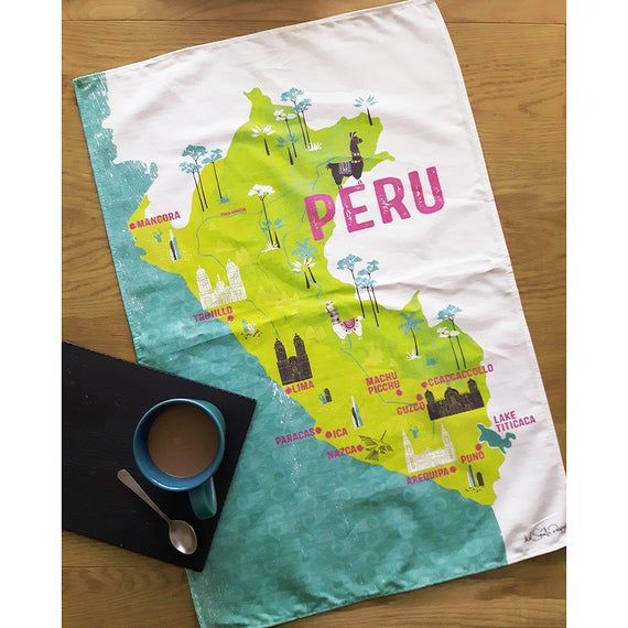 Peru Map Souvenir Tea Towel / Illustrated Map Of Peru Travel Gift / Llama Decor Gift / Wanderlust Stocking Filler Gift – Products & illustration from Mel Smith Designs