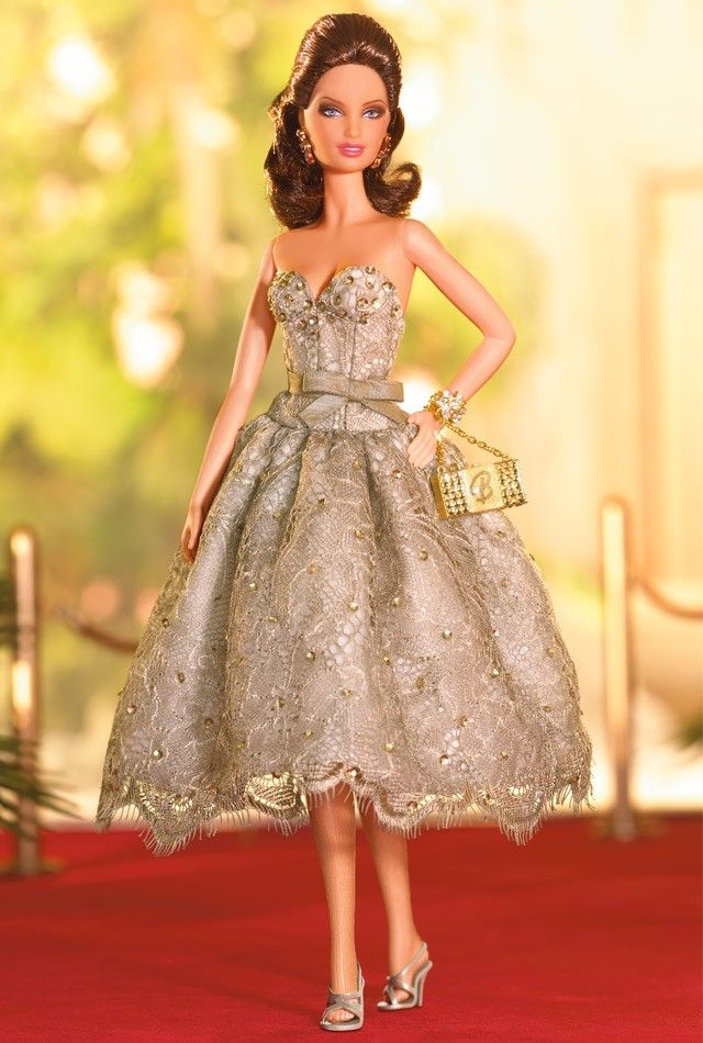 Judith Leiber® Barbie® Doll | Barbie Collector ~ Strapless cocktail dress of taupe lace with a scalloped hem.