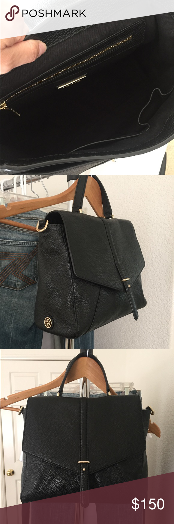 8286ac0ada49 Tory Burch 797 Satchel black bag. Medium size 💯 authentic. Pre owed. Still  in great condition! Can also be carried as a cross-body. No trades.
