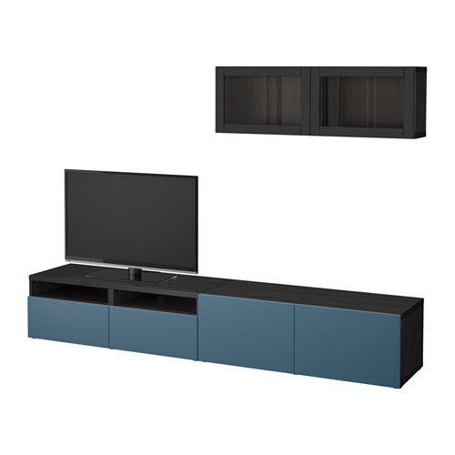 BESTÅ Combinazione TV/ante a vetro, marrone-nero Valviken, blu scuro ...