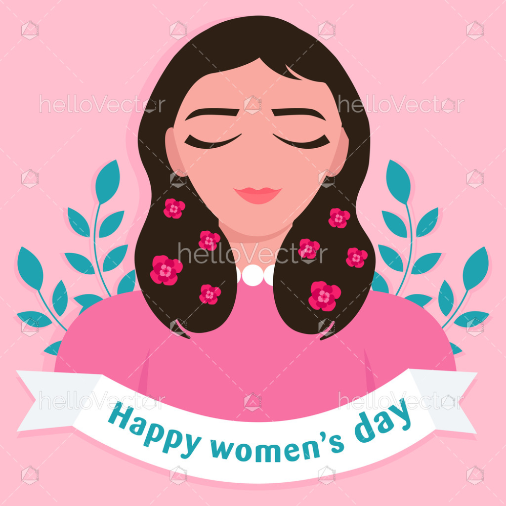 Happy Women S Day Graphic With Woman Clipart Vector Illustration Download Graphics Vectors Vector Illustration Happy Woman Day Happy Women