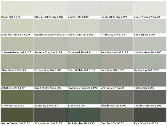 Sherwin Williams Sw6175 Sagey Sw6176 Livable Green Sw6177 Softened