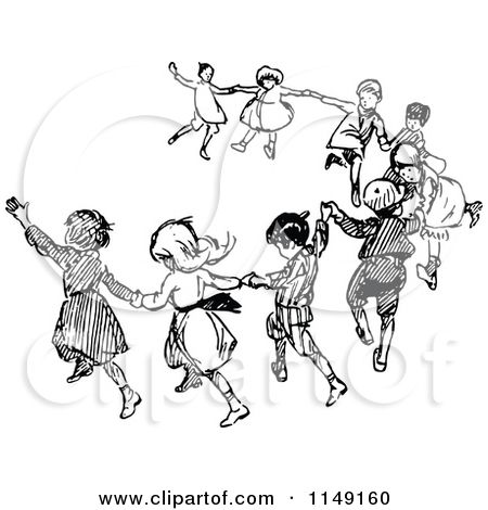 Clipart Of Retro Vintage Black And White Dancing Children Royalty Free Vector Illustration By Praw Free Vector Illustration Illustration Vintage Illustration