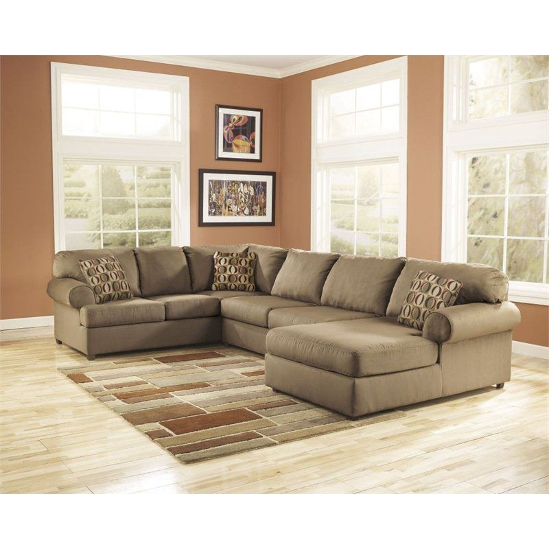 Lowest price online on all Ashley Furniture Cowan 3 Piece Right Chaise  Sectional Sofa in Mocha