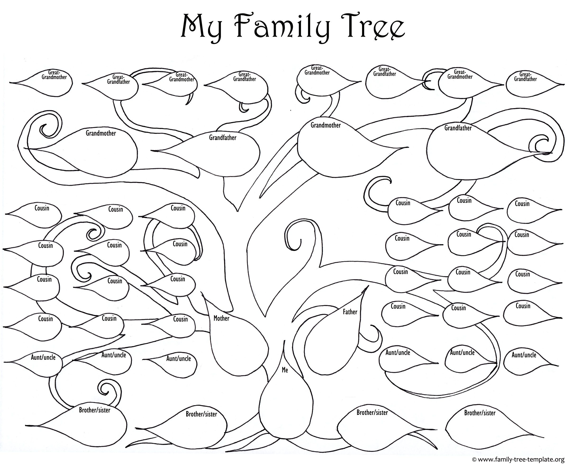 the large family tree chart for kids to print and color