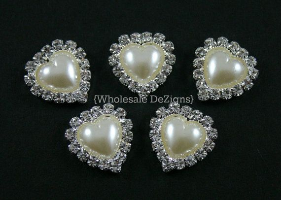 Heart Pearl and Rhinestone Button - 5 Metal Base - 19 mm Heart Shape Buttons on Etsy, $66.67