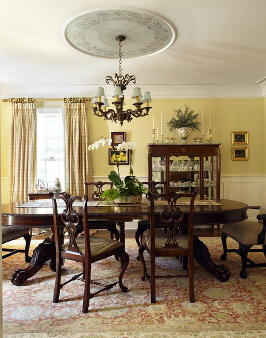 Nice Yellow Paint Ideas For Classic Dining Room Color