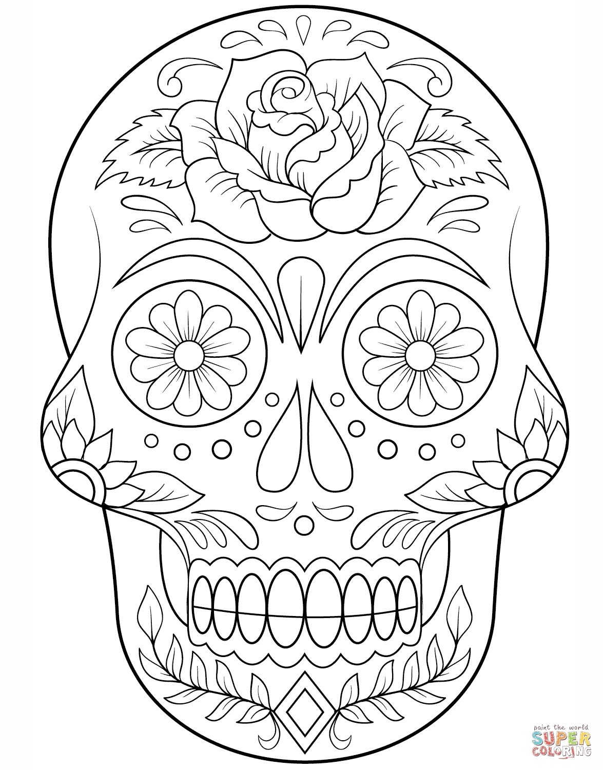 Simple Sugar Skull Coloring Pages 7 T Sugar Skull With Flowers Super Coloring Christm Skull Coloring Pages Halloween Coloring Pages Flower Coloring Pages