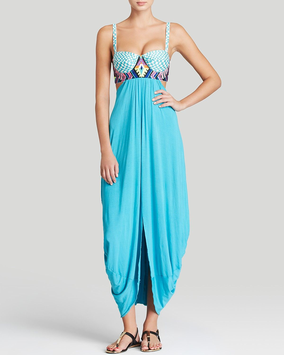 Mara Hoffman Checkers Embroidered Maxi Dress Swim Cover Up   Bloomingdale's