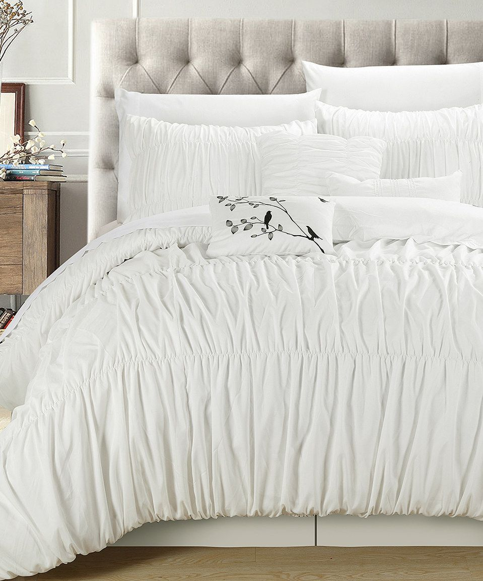 Love this White Francesca Pleated Bedding Set by Chic Home Design on ...