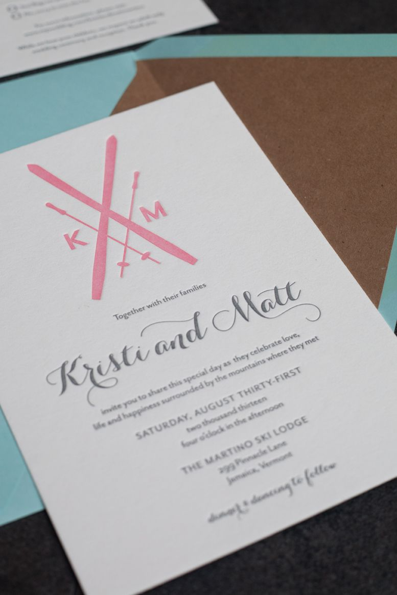 Ski themed wedding invitations, letterpress printed in pink and gray ...