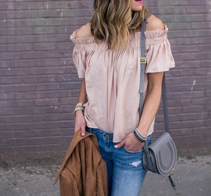 Blush off shoulder top with ripped jeans and grey Chloe bag