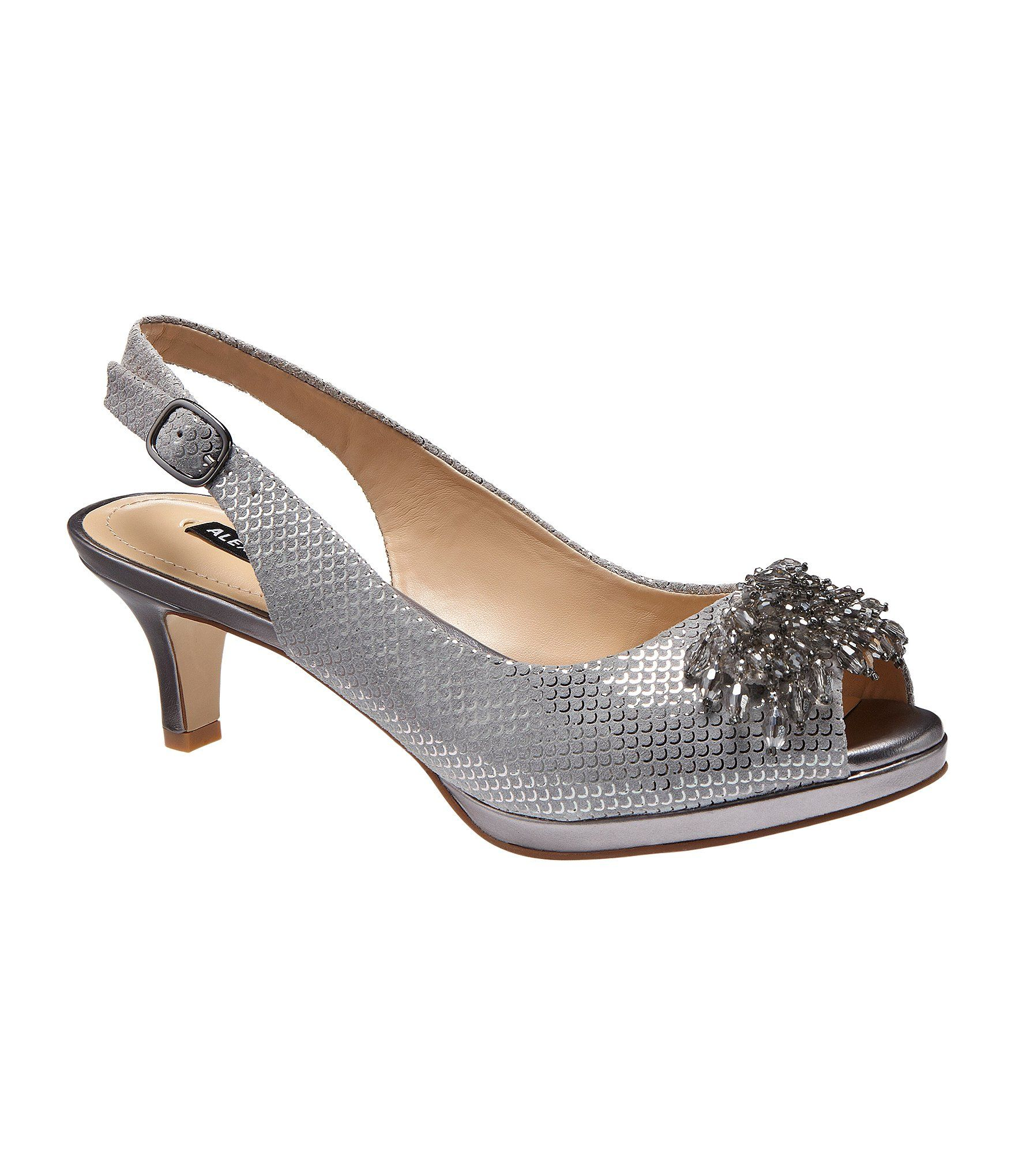 Alex Marie Marla Metallic Suede Beaded Accent Peep Toe Pumps