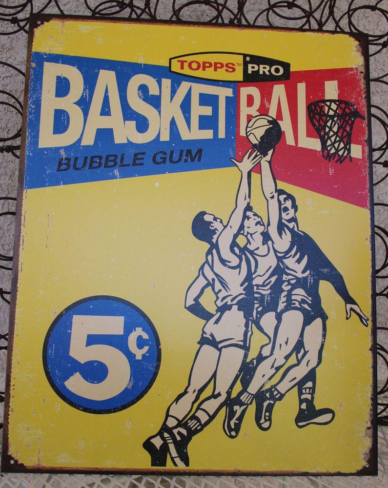 Topps Basketball 1957 Tin Sign Collectible Retro Style Wall Decor ...